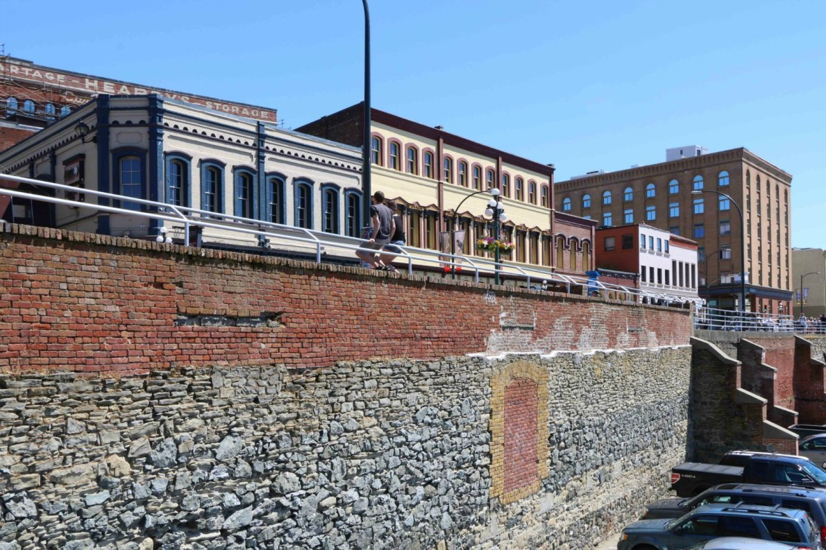 Part of the Hudson's Bay Company warehouse retaining wall, built in 1858 and extended in 1883.