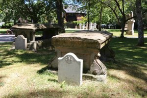 The graves of the Work and Dodd families in Pioneer Square. (photo by Victoria Online Sightseeing Tours)
