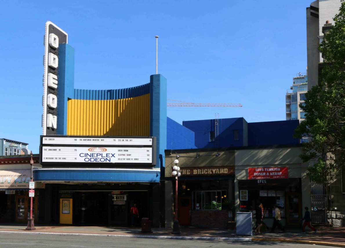 The Odeon Theatre, 780 Yates Street, Victoria, B.C. Built in 1948 (photo by Victoria Online Sightseeing Tours)