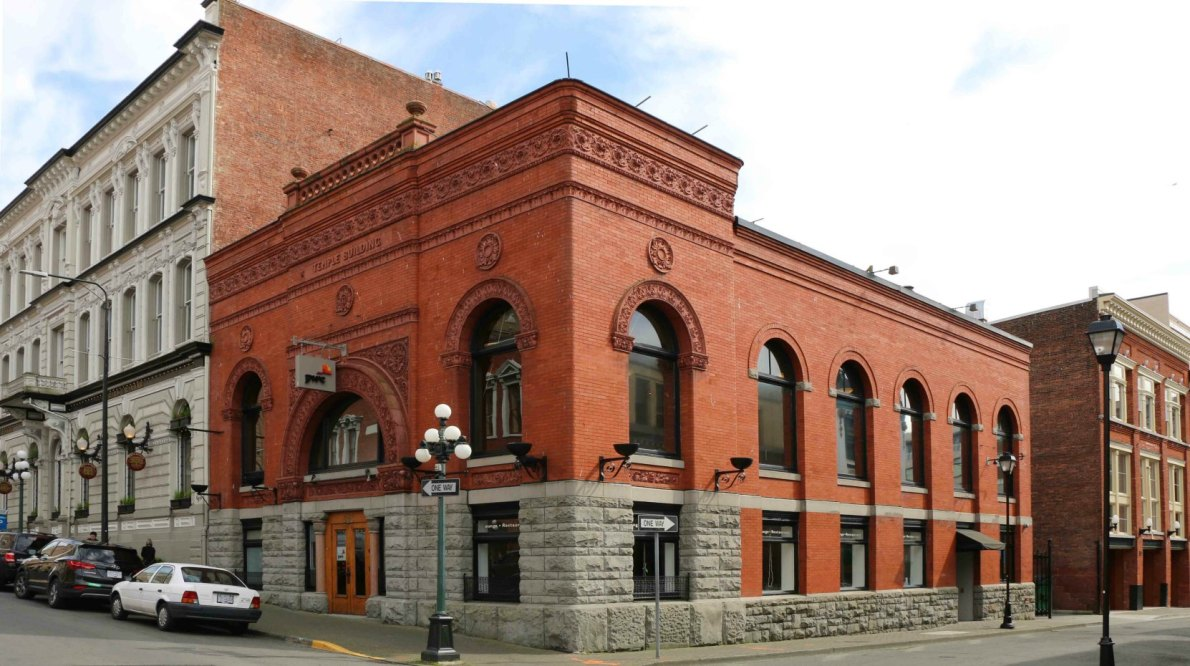 The Temple Building, 525 Fort Street, designed by Samuel Maclure in 1893 for Robert Ward (photo by Victoria Online Sightseeing Tours)