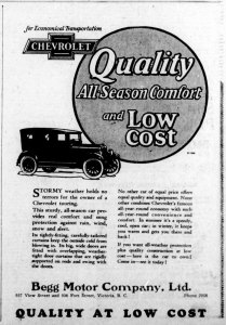 1926 advertisement for Chevrolet automobiles, placed by Begg Motor Company, 937 View Street. This advertisement was placed in the spring of 1926, before Begg Motor Co. opened its new building at 950 Quadra Street. (Victoria Online Sightseeing Tours collection)