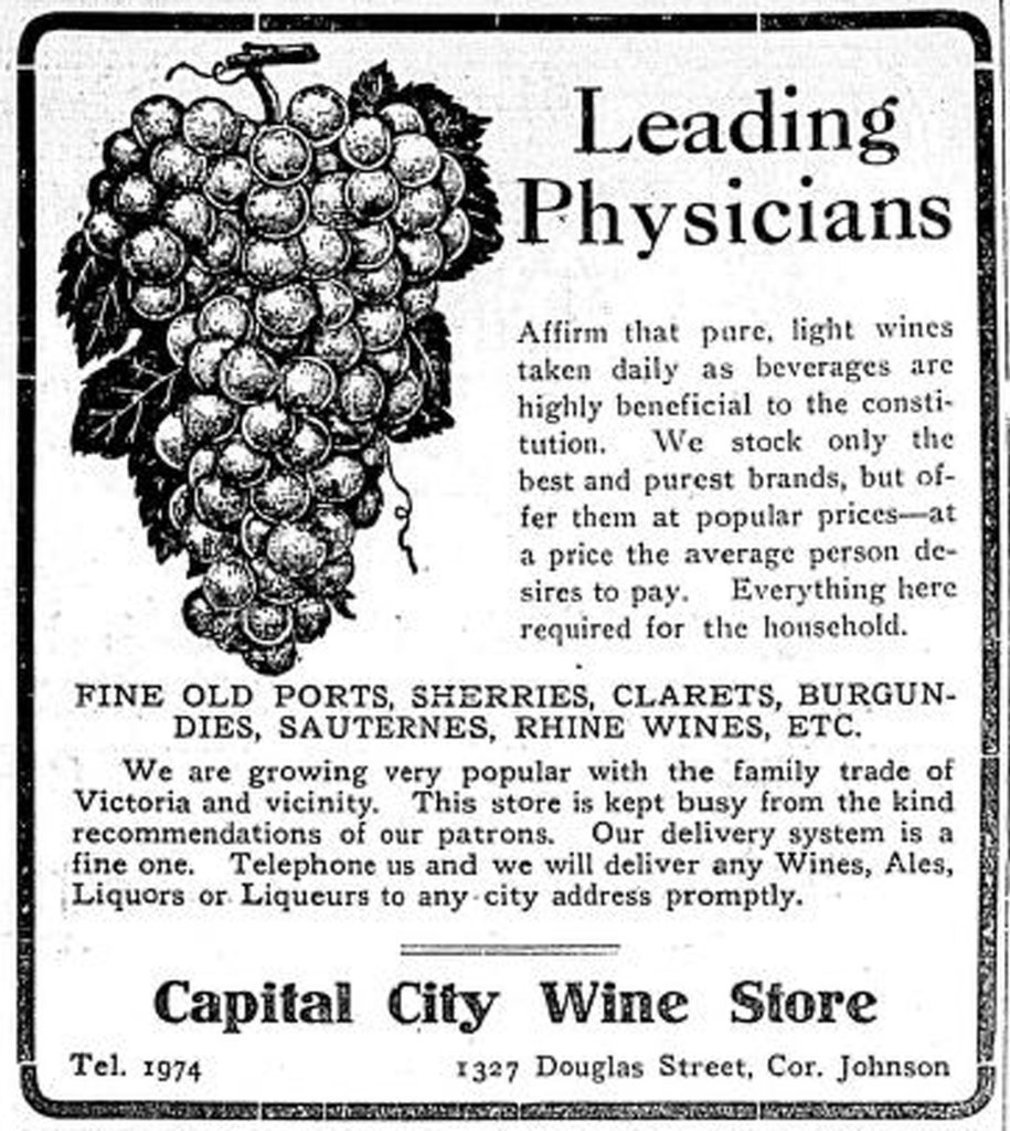 1910 advertisement for the Capital City Wine Store, 1327 Douglas Street (Victoria Online Sightseeing Tours collection)