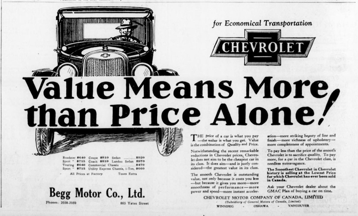 1926 advertisement for Chevrolet automobiles, placed by Begg Motor Company, 865 Yates Street. This advertisement was placed in the fall of 1926, after Begg Motor Co. opened its new building at 865 Yates Street (now 950 Quadra Street). (Victoria Online Sightseeing Tours collection)