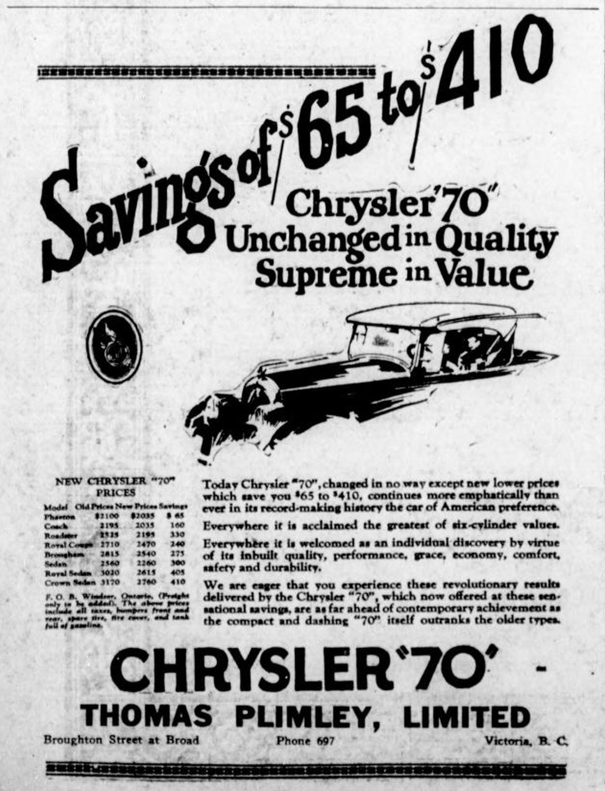 """1926 advertisement for Chrysler """"70"""" automobiles, placed by Thomas Plimley Ltd., Broughton Street at Broad Street, (Victoria Online Sightseeing Tours collection)"""