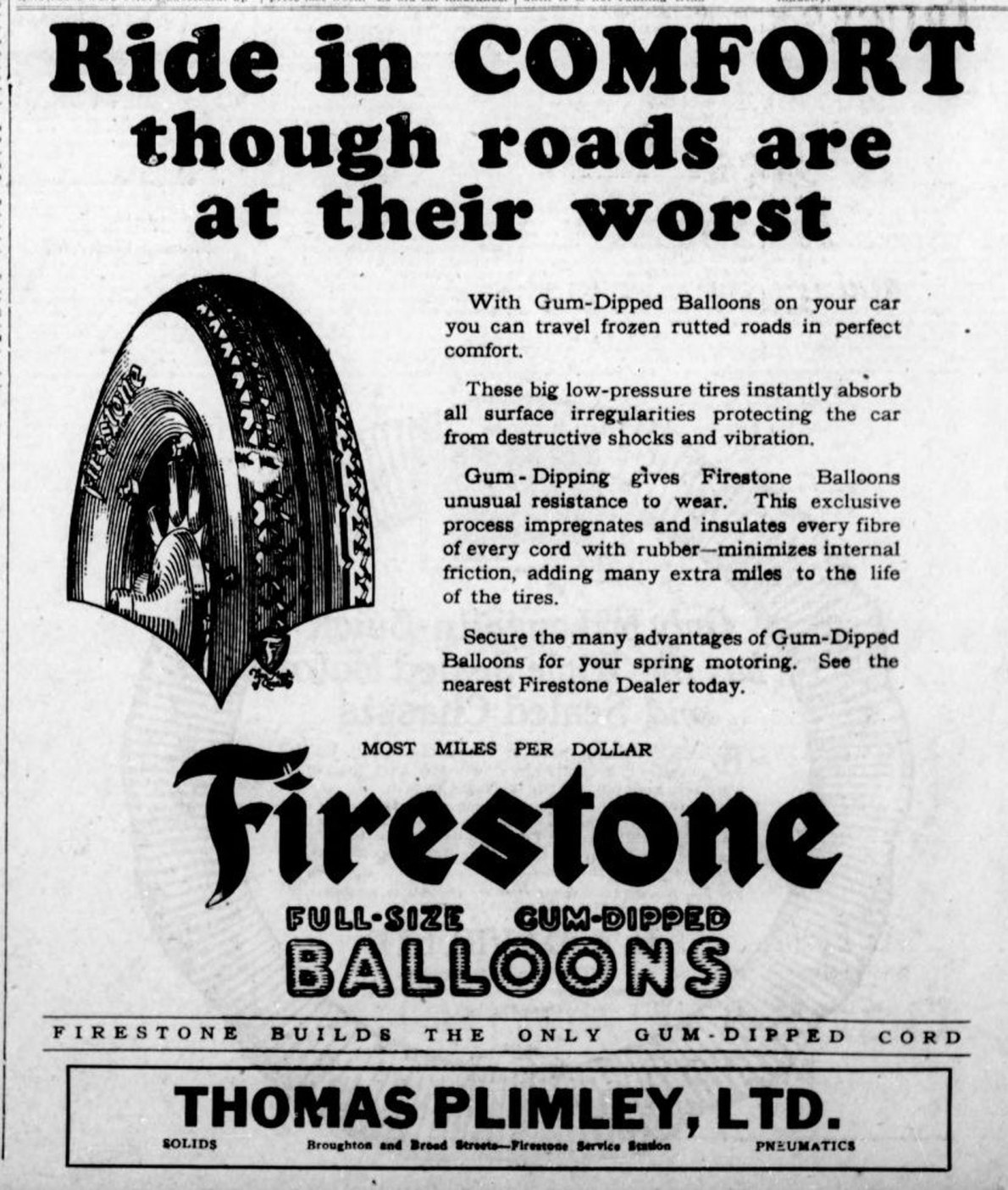 1926 advertisement for Firestone tires, sold at Thomas Plimley Ltd, Broughton Street at Broad Street. (Victoria Online Sightseeing Tours collection)