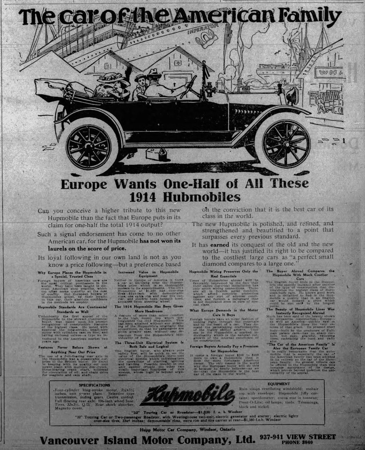 1913 advertisement for Hupmobile, sold by Vancouver Island Motor Company Ltd., 937 View Street (Victoria Online Sightseeing Tours collection)