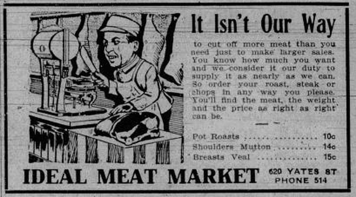 1910 advertisement for Ideal Meat Market, 620 Yates Street (Victoria Online Sightseeing Tours collection)