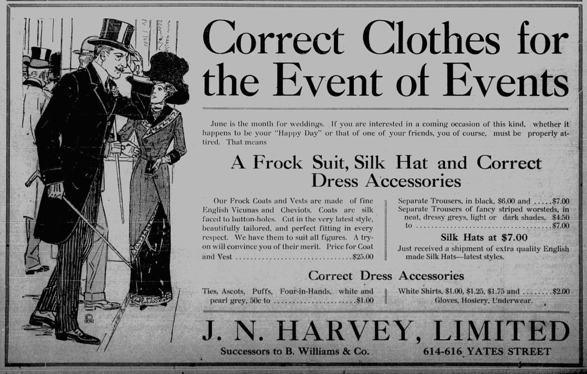 1911 advertisement for J.N. Harvey Ltd., 614-616 Yates Street. We believe J.N. Harvey was located in the building at 612-614 Yates Street (Victoria Online Sightseeing Tours collection)