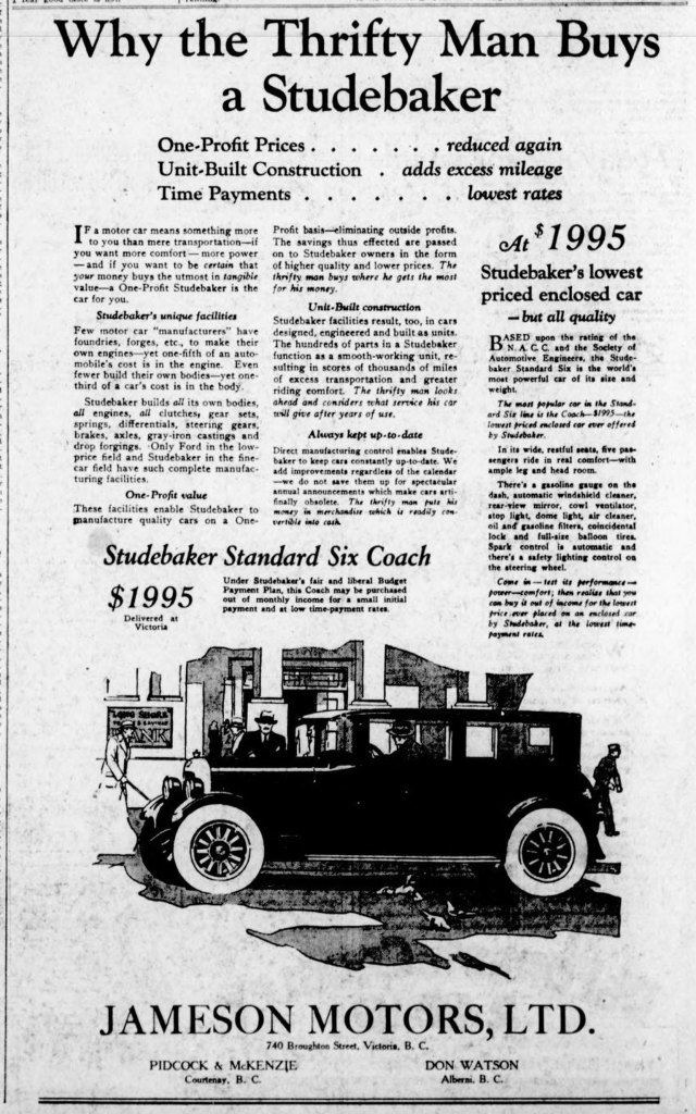 1926 advertisement for Studebaker at Jameson Motors, 740 Broughton Street (Victoria Online Sightseeing Tours collection)