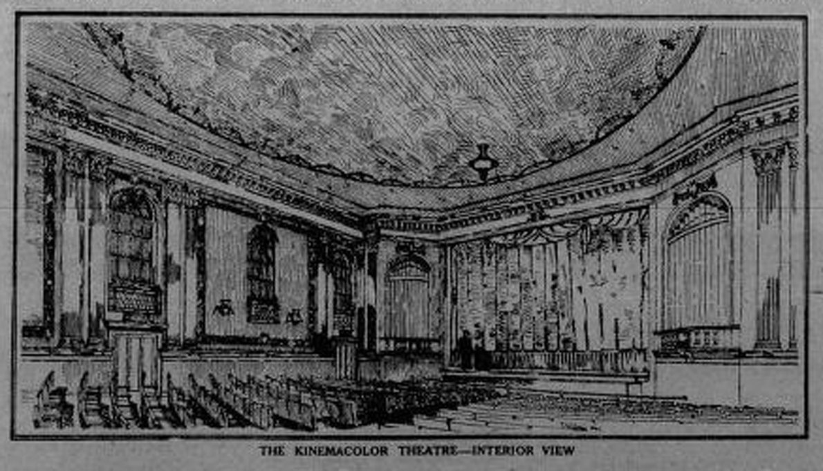 1913 architects' drawing of the interior of the KinemaColor Theatre, Government Street (Victoria Online Sightseeing Tours collection)