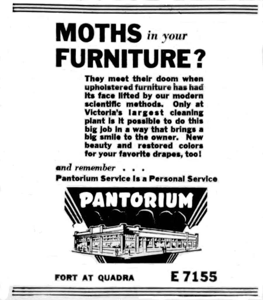 1946 advertisement for the Pantorium, 905 Fort Street. Note the drawing of the building in the advertisement. (Photo: Victoria Online Sightseeing Tours collection)