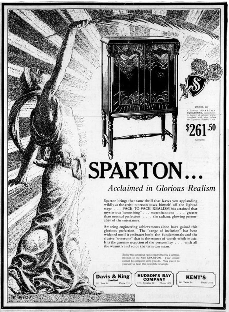 1929 advertisement for Sparton Radios, sold at the Hudson's Bay Company and at Kent's, 642 Yates Street, (Victoria Online Sightseeing Tours collection)
