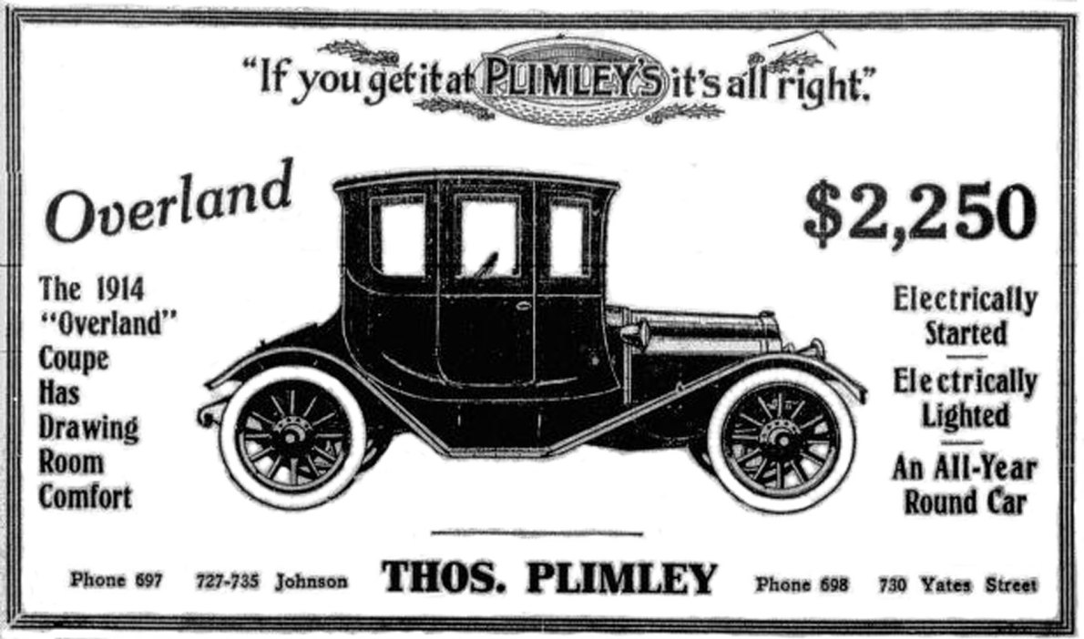 1914 advertisement for Overland Coupe, sold by Thomas Plimley Ltd., 727-731 Johnson Street and 730 Yates Street. (Victoria Online Sightseeing Tours collection)