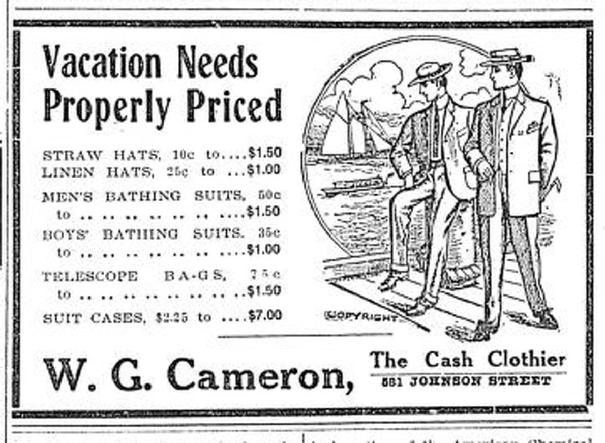 1909 advertisement for W.G. Cameron, 581 Johnson Street, (Victoria Online Sightseeing Tours collection)
