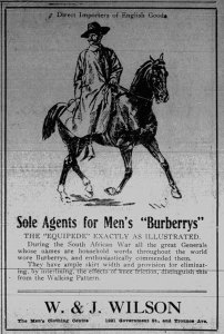 1912 advertisement for W. & J. Wilson, which is still in business at Government Street and Trounce Alley. (Victoria Online Sightseeing Tours collection)