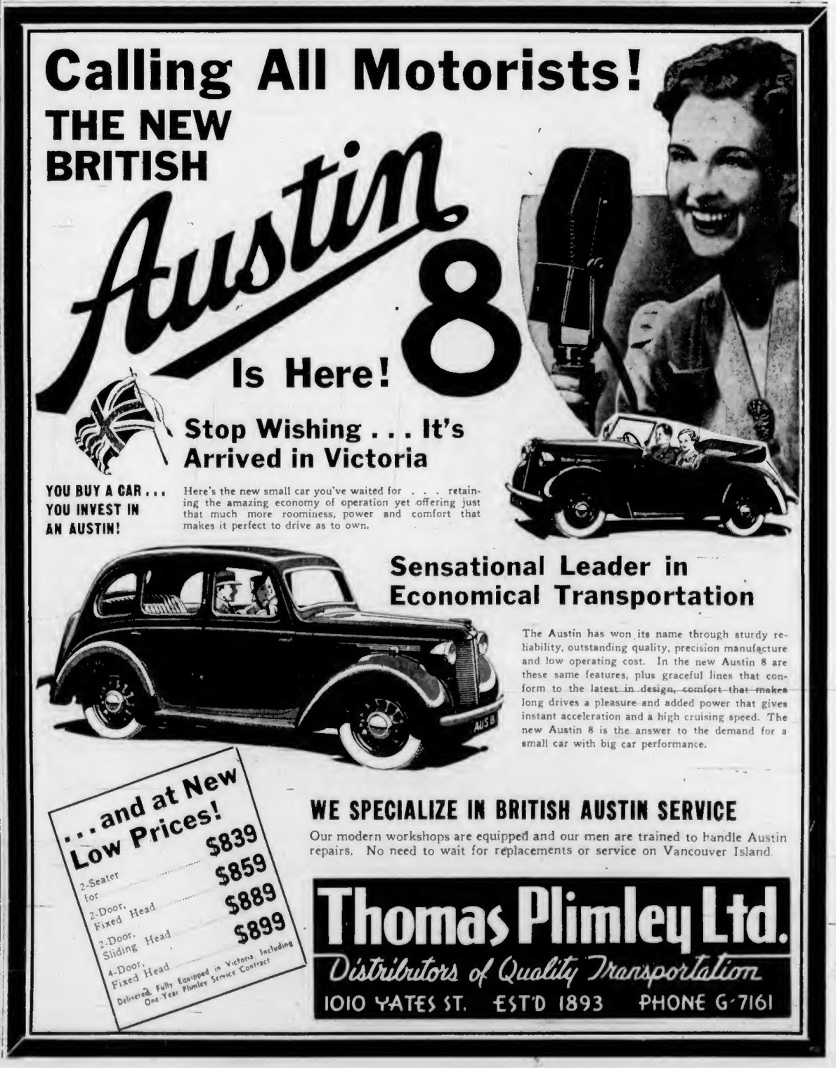 1939 advertisement for Austin 8 cars, by Thomas Plimley Ltd., 1010 Yates Street (Victoria Online Sightseeing Tours collection)
