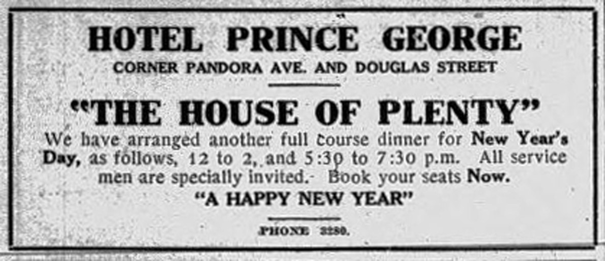 1915 advertisement for the Hotel Prince George, now the Rialto Hotel, 1450 Douglas Street. (Victoria Online Sightseeing Tours collection)