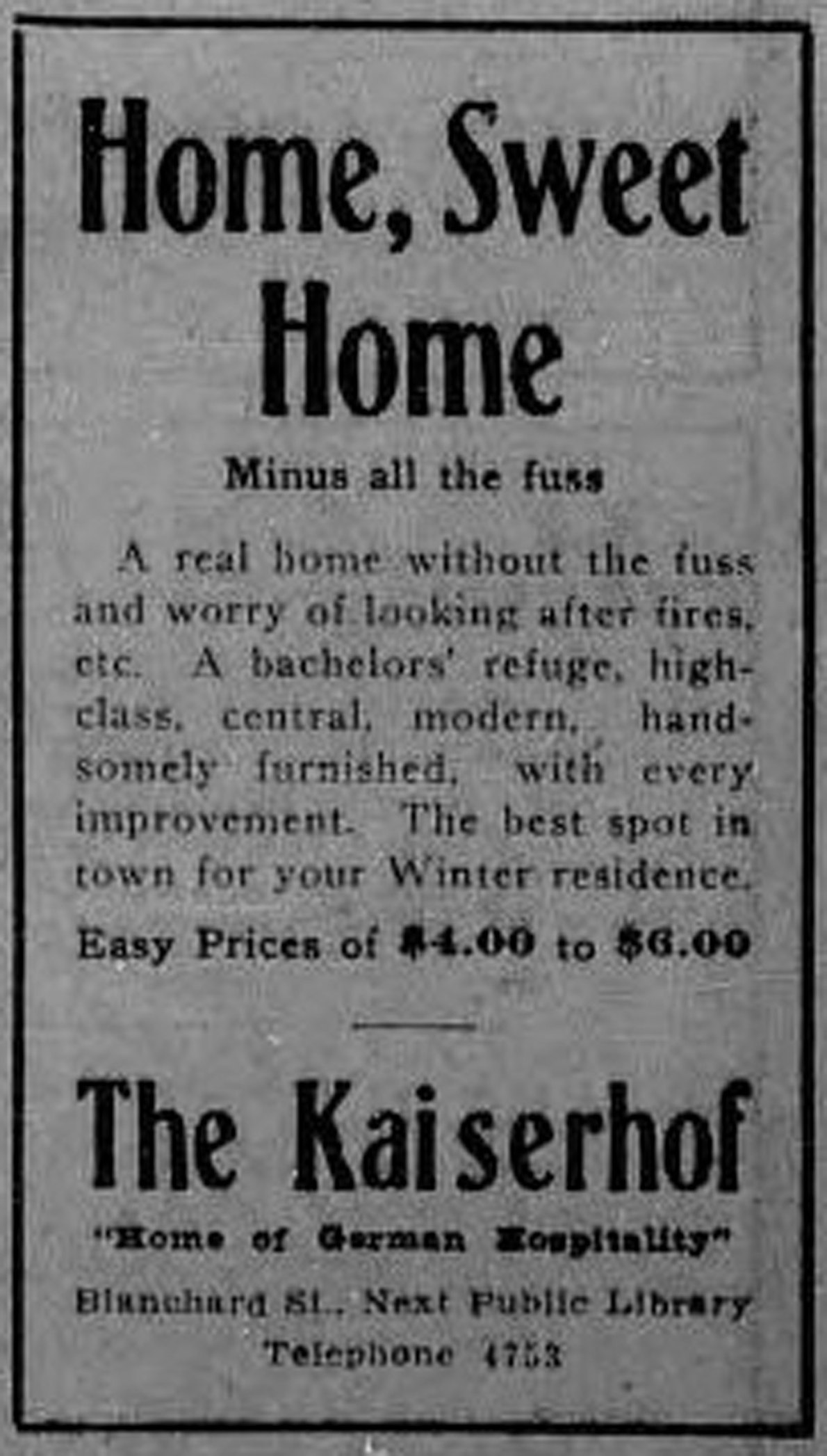"""1913 advertisement for The Kaiserhof, 1320-1322 Blanshard Street. Notice the """"bachelors' refuge"""", indicating the market The Kaiserhof was trying to attract. (Victoria Online Sightseeing Tours collection)"""
