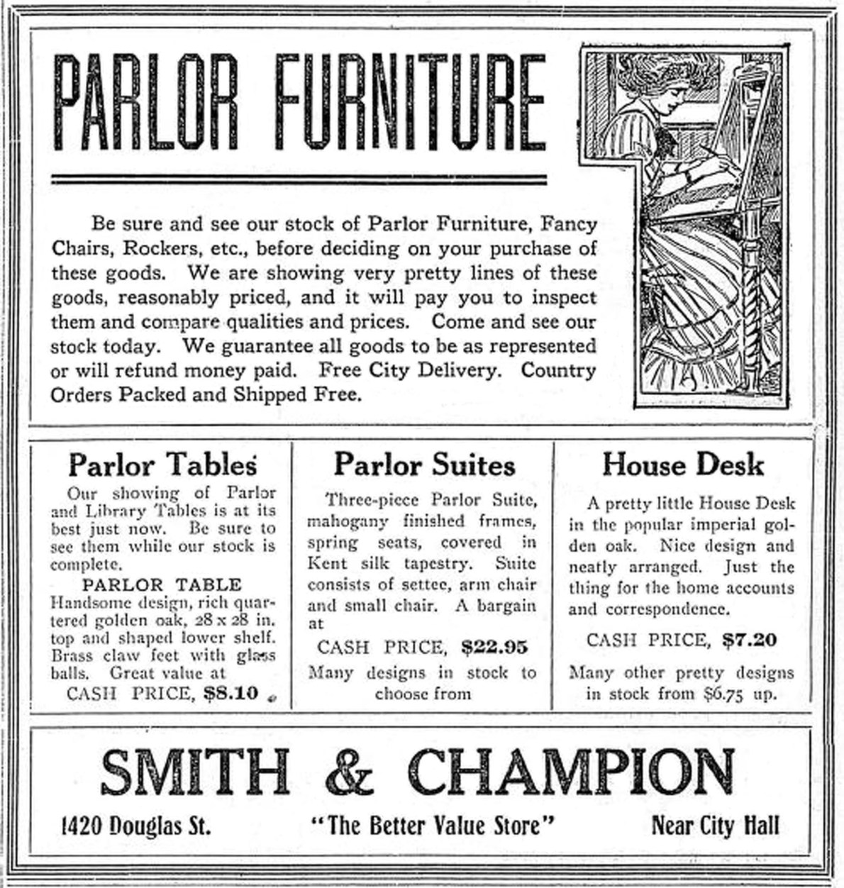 1910 advertisement for Smith & Champion, 1420 Douglas Street (Victoria Online Sightseeing Tours collection)