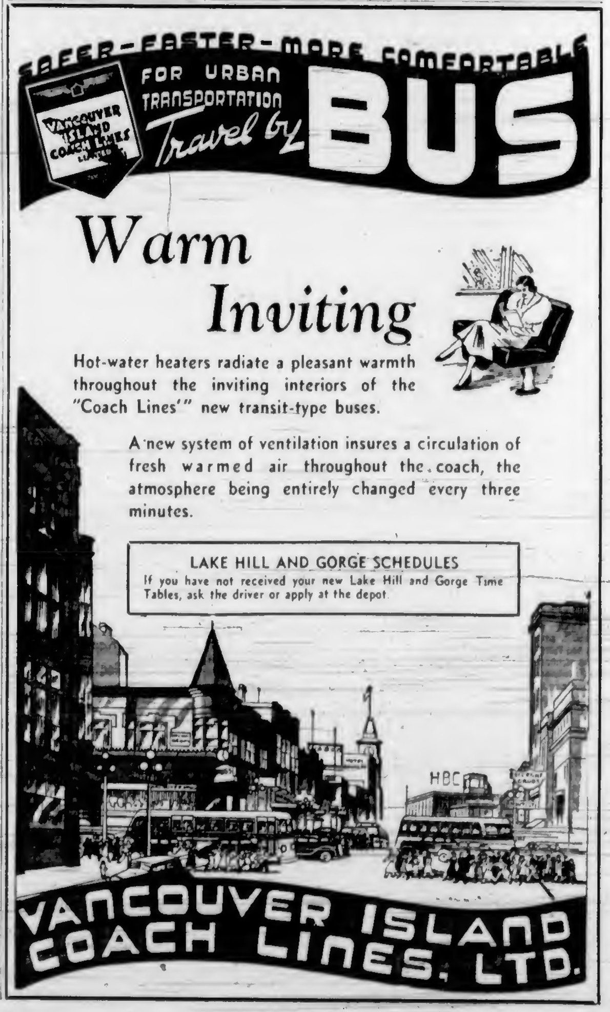 1937 advertisement for Vancouver Island Coach Lines, featuring a drawing of Douglas Street looking north from Yates Street. (Victoria Online Sightseeing Tours collection)