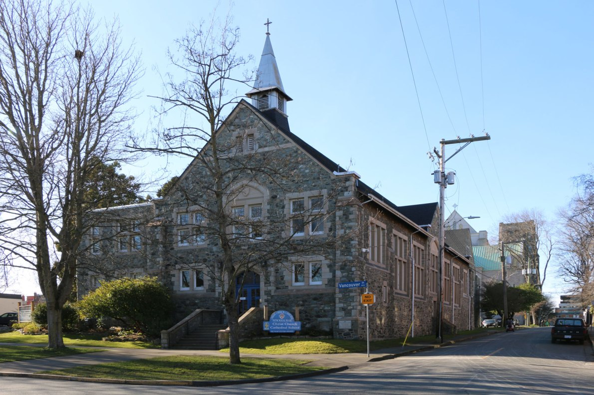912 Vancouver Street, built in 1923 by architect J.C.M. Keith as the Christ Church cathedral memorial Hall. It is now the Cathedral School (photo: Victoria Online Sightseeing Tours)