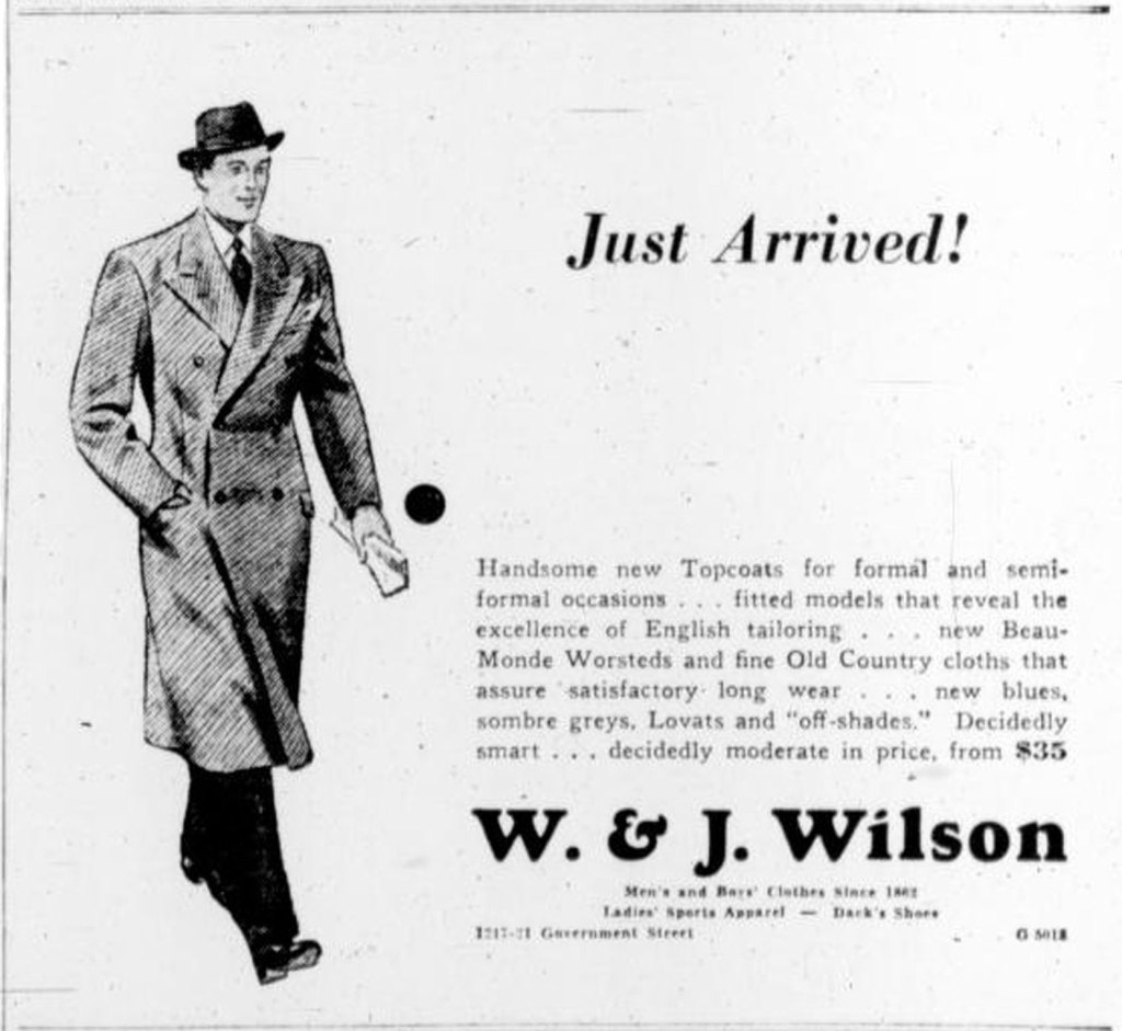 1939 advertisement for W. & J. Wilson, 1221 Government Street (Victoria Online Sightseeing Tours collection)