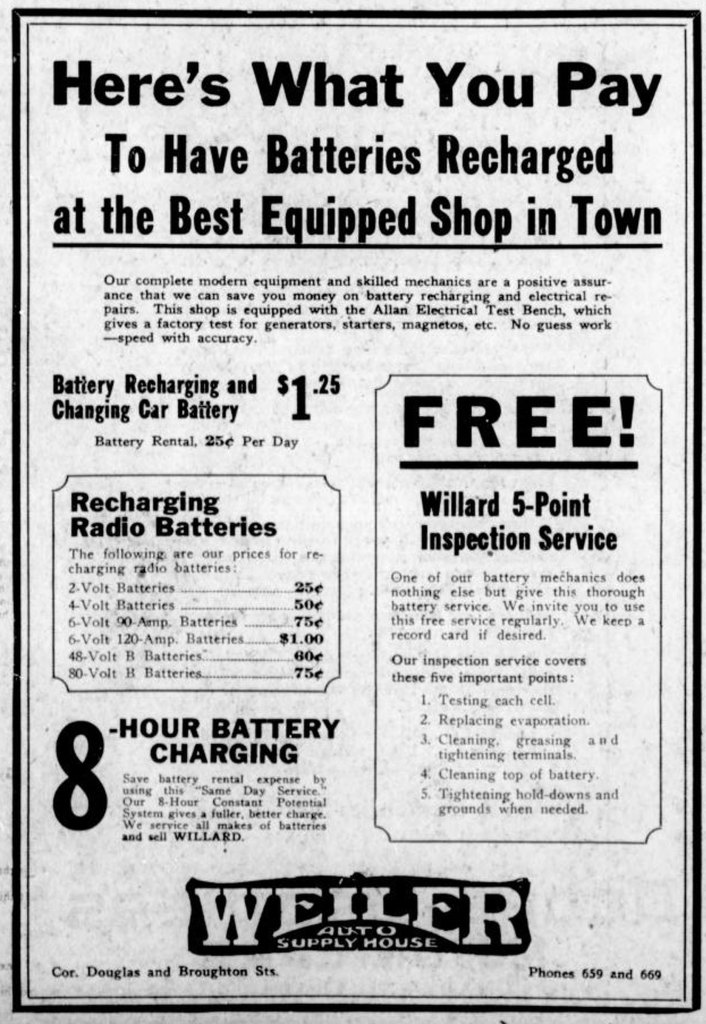 1926 advertisement for Weiler Auto Supply House, 1000-1012 Douglas Street, at Broughton Street (Victoria Online Sightseeing Tours collection)