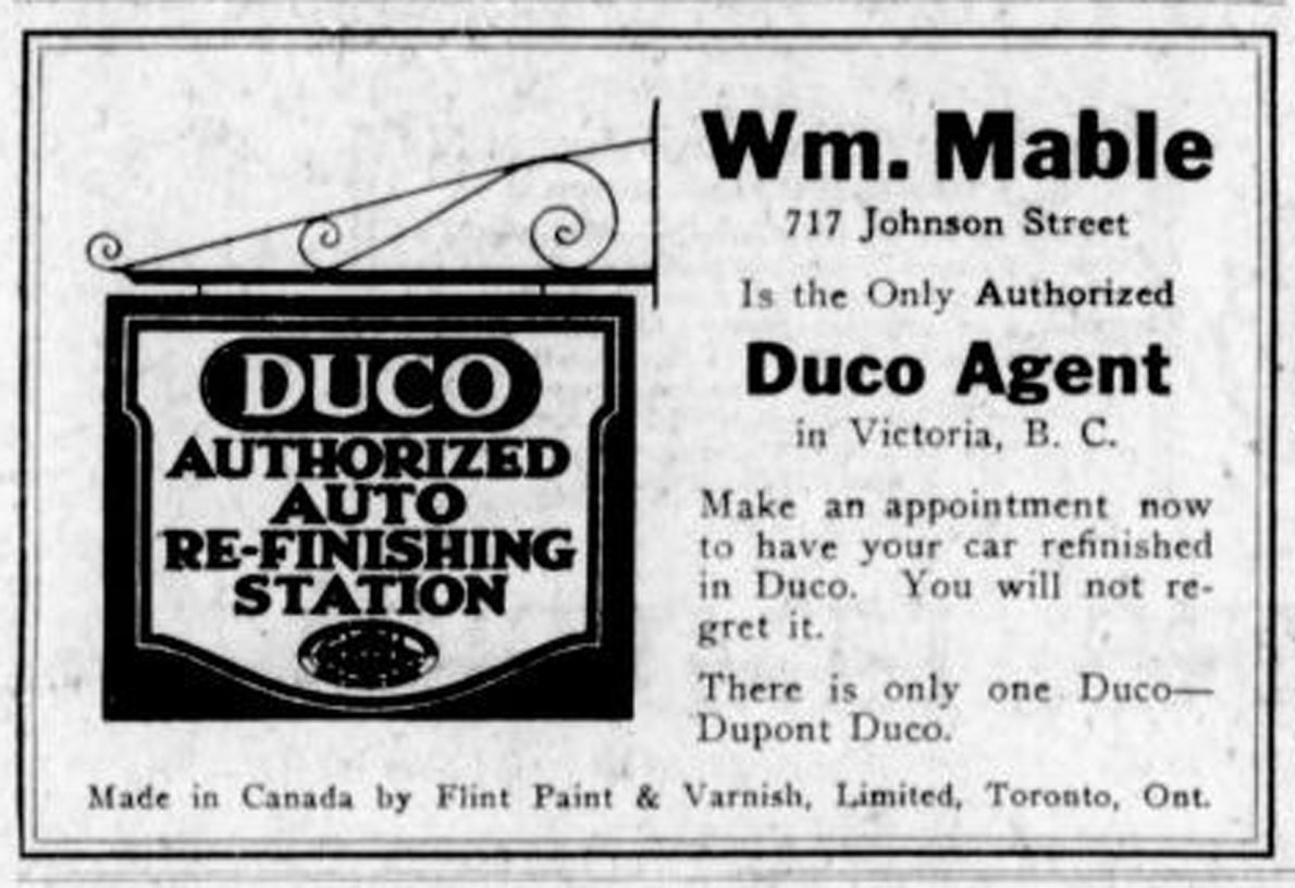 1926 advertisement for William Mable, 717 Johnson Street. showing the former Mable carriage making business changed into auto body work. (Victoria Online Sightseeing Tours collection)