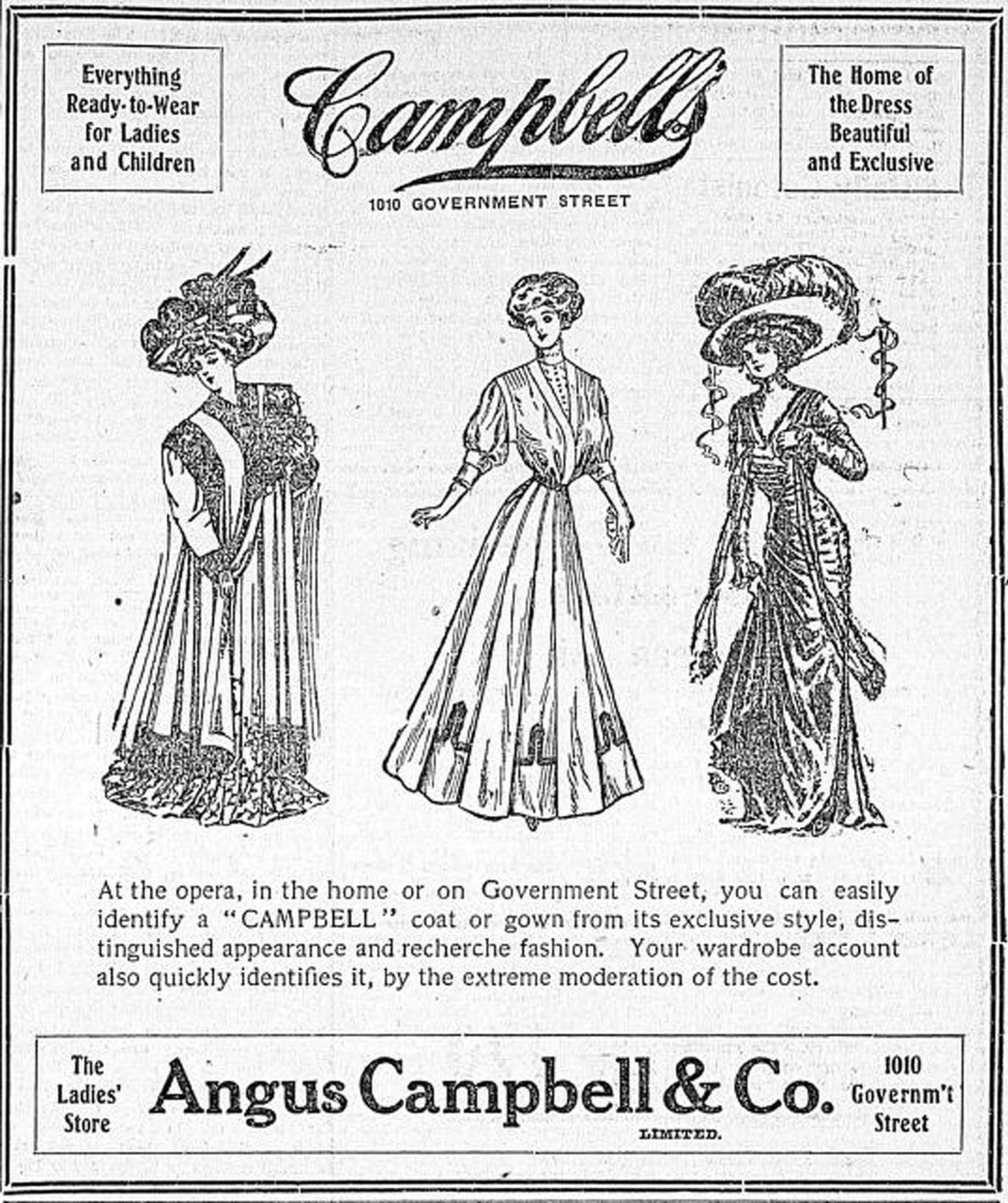 1908 advertisement for Angus Campbell & Co., 1010 Government Street (Victoria Online Sightseeing Tours collection)