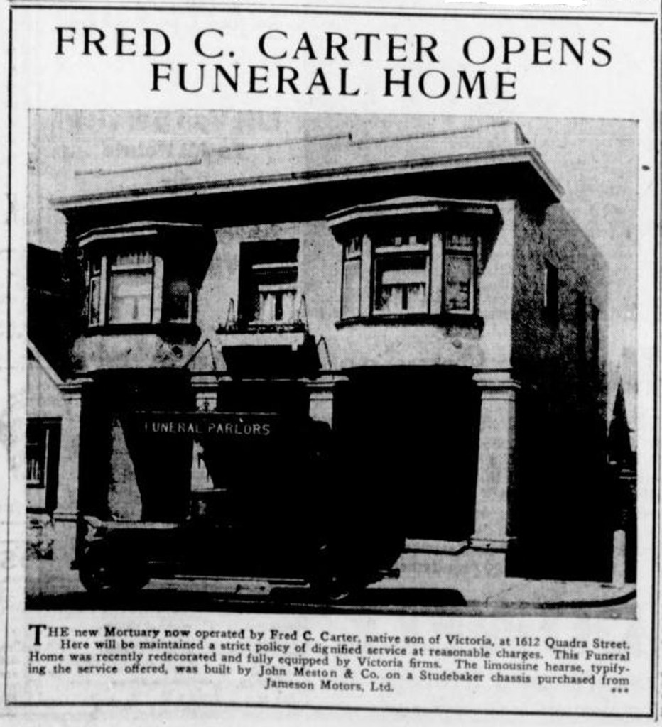 1933 advertisement for Fred C. carter Funeral Home, 1612 Quadra Street (Victoria Online Sightseeing Tours collection)