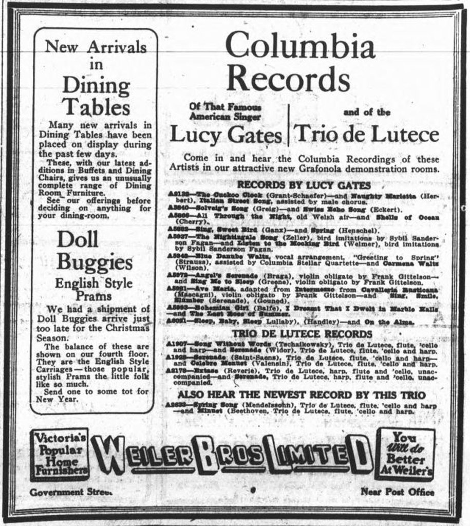 1919 advertisement for Columbia Records at Weiler Brothers, 921 Government Street (Victoria Online Sightseeing Tours collection)