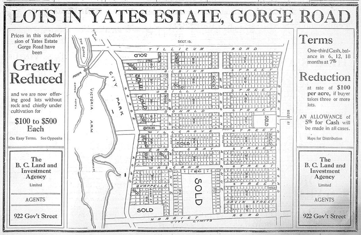 1908 advertisement for Yates Estate subdivision, bordered by Gorge Road, Harriet Road, Tillicum Road and Burnside Road. (Victoria Online Sightseeing Tours Inc. collection)