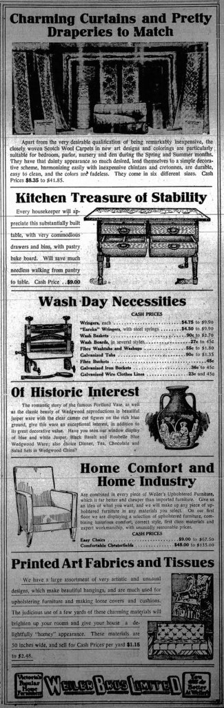 1915 advertisement for Weiler Brothers, 921 Government Street. (Victoria Online Sightseeing Tours collection)