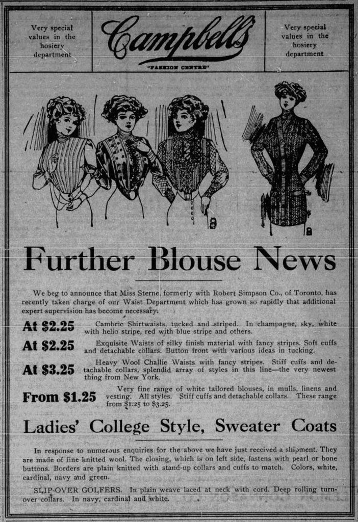1911 advertisement for Angus Campbell, a women's clothing store located at 1010 Government Street for several decades. (Victoria Online Sightseeing Tours collection)