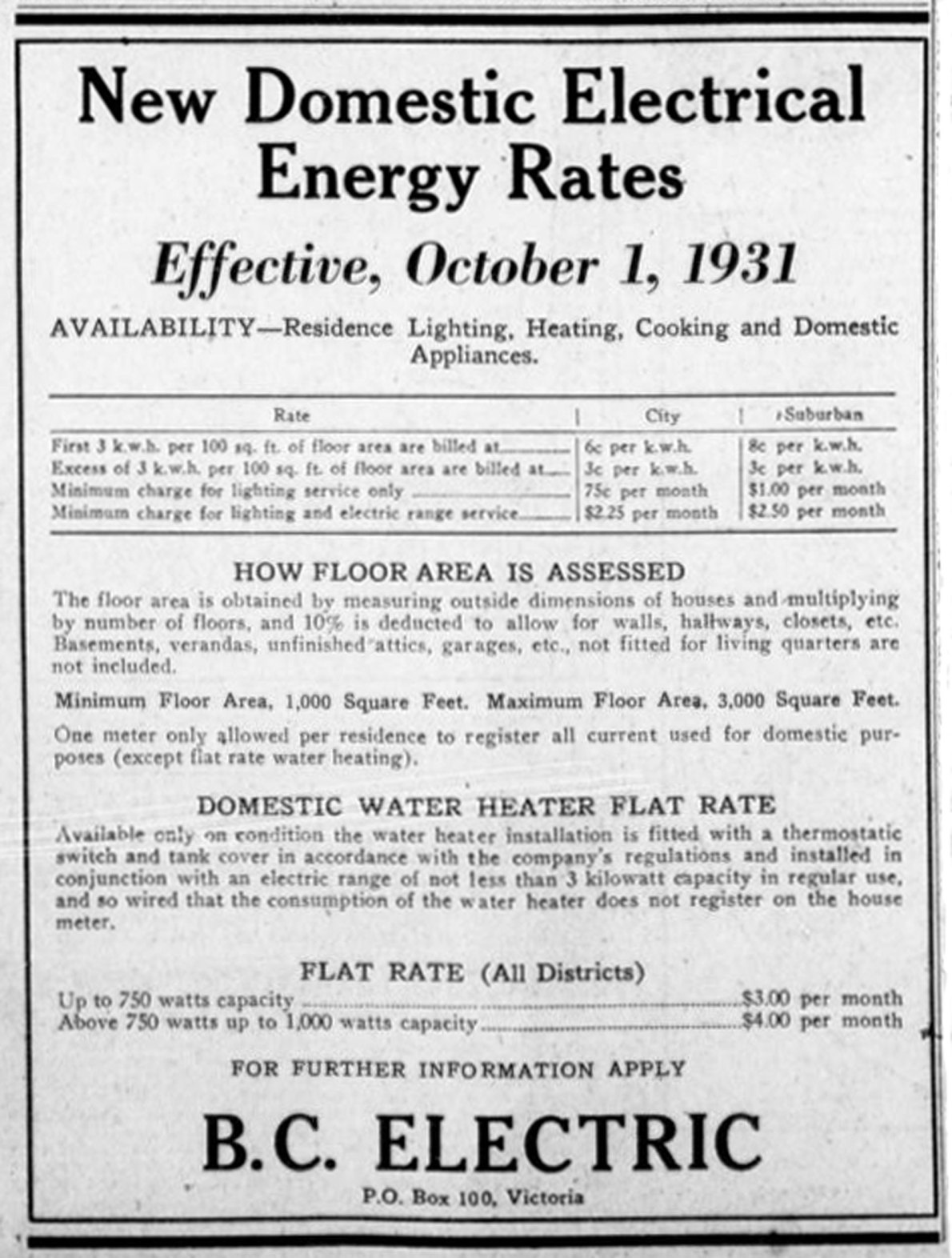 1931 advertisement for B.C. Electric showing household electricity rates (Victoria Online Sightseeing Tours collection)