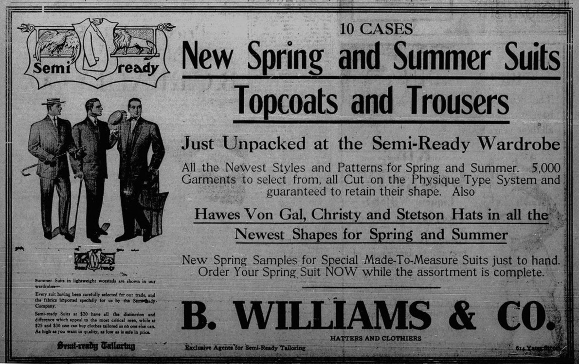 1911 advertisement for B. Williams & Co., Clothiers & Hatters, 614 Yates Street (Victoria Online Sightseeing Tours collection)