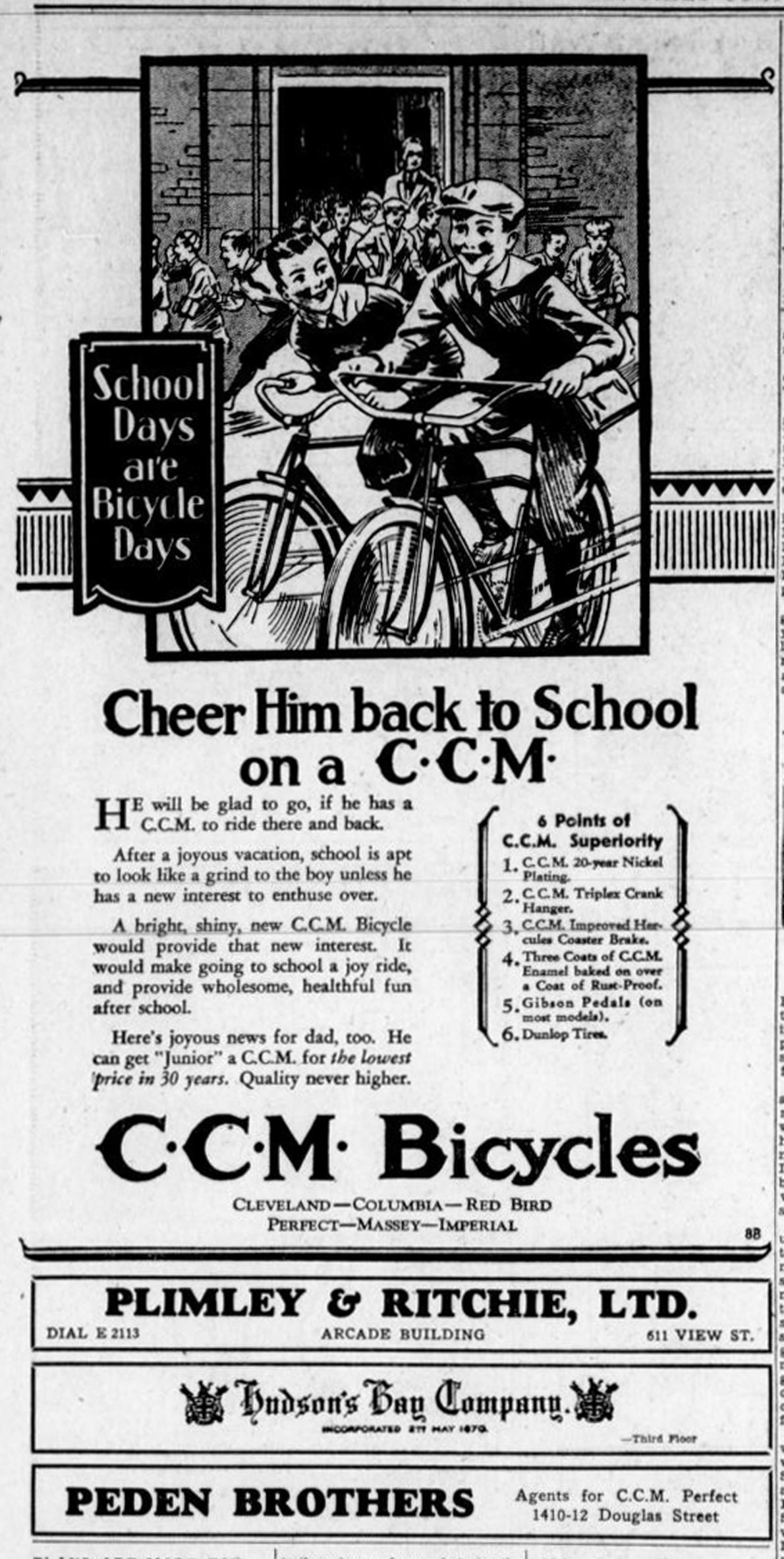 1931 advertisement for CCM Bicycles, available in Victoria at Hudson's Bay Co., 1701 Douglas Street, Plimley & Ritchie in the (now demolished) Arcade Building and Peden Brothers, 1410-1412 Douglas Street. (Victoria Online Sightseeing Tours collection)