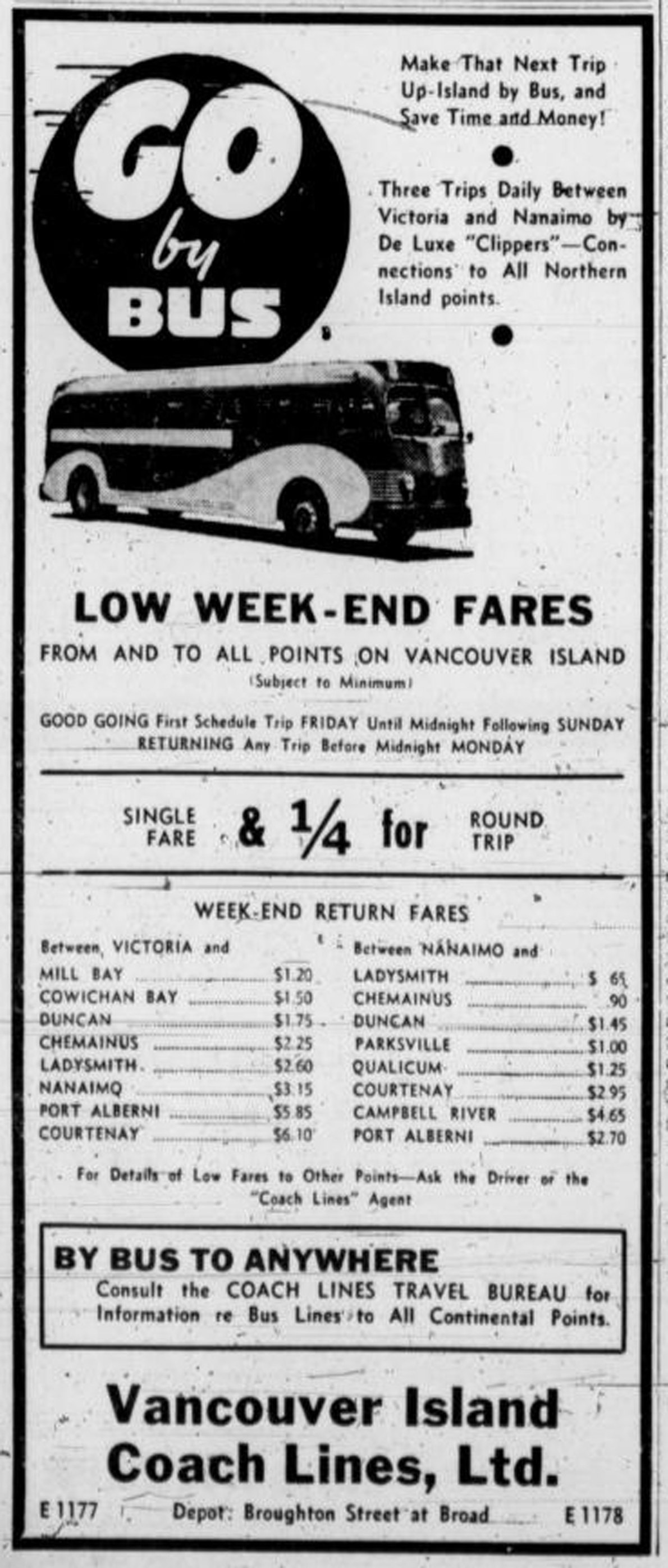 1940 advertisement for Vancouver Island Coach Lines, showing fares between Victoria and other Vancouver Island locations (Victoria Online Sightseeing Tours collection)