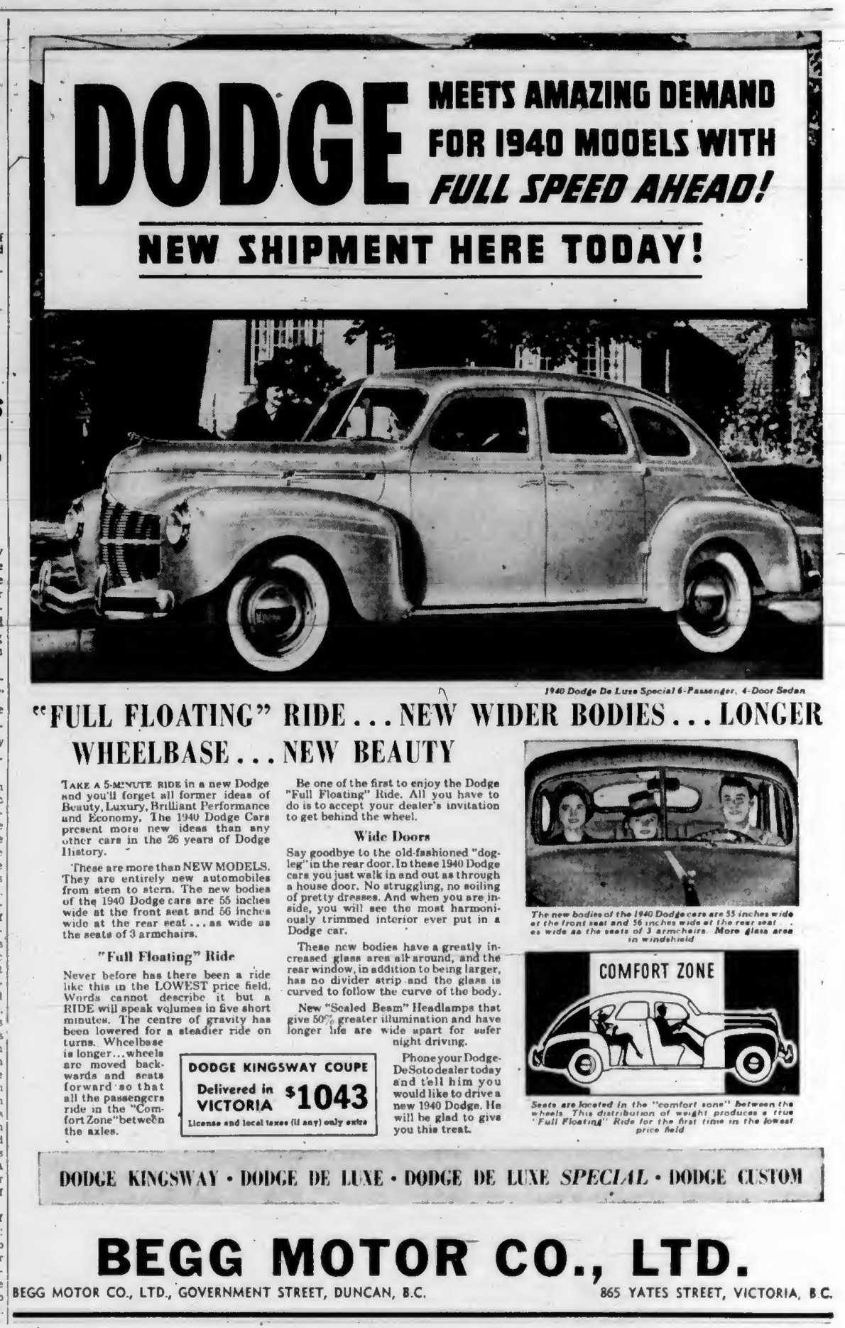1940 advertisement for Dodge, by Begg Motor Co. Ltd., then located at 865 Yates Street, at Quadra Street (Victoria Online Sightseeing Tours collection)