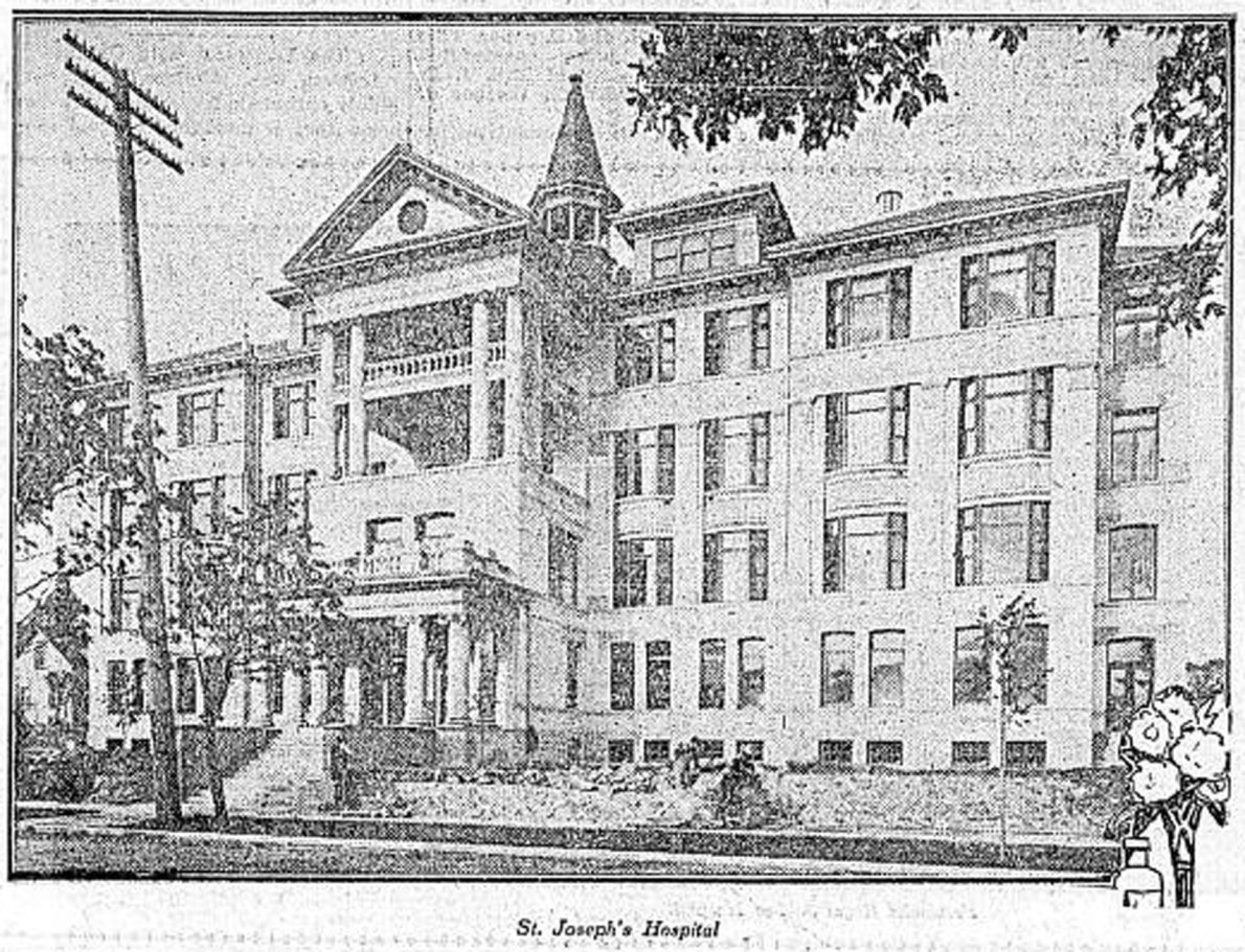 1908 newspaper photograph of St. Joseph's Hospital, 840 Humboldt Street. (Victoria Online Sightseeing Tours collection)