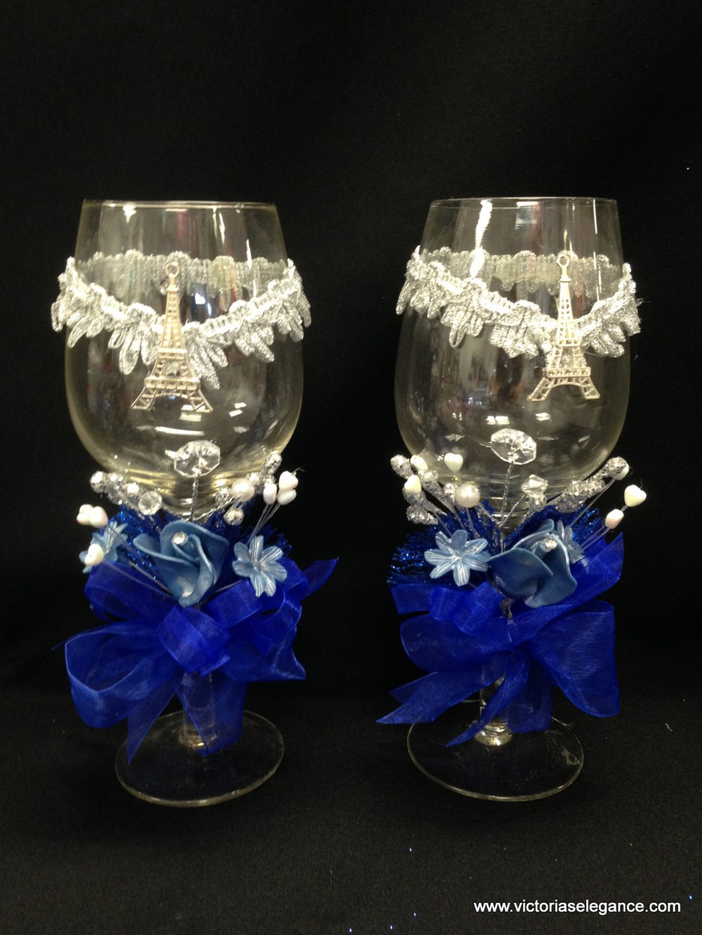 Pair of Glass Cups Decorated 8.25″