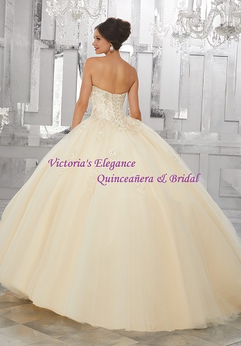 Lace Up Back Sweet Train Ball Gown @ www.victoriaselegance.com