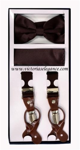 Suspender Combo Set (Bowtie & Hanky) Brown