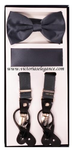 Suspender Combo Set (Bowtie & Hanky) Charcoal