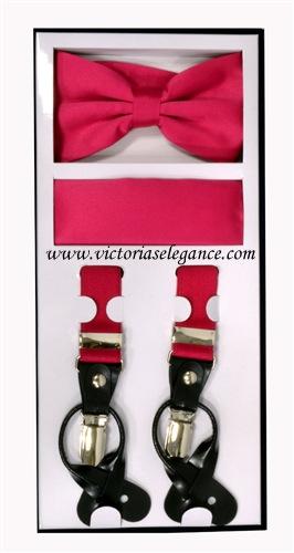 Suspender Combo Set (Bowtie & Hanky) Hot Pink