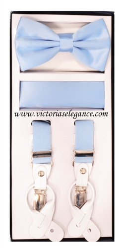Suspender Combo Set (Bowtie & Hanky) Light Blue