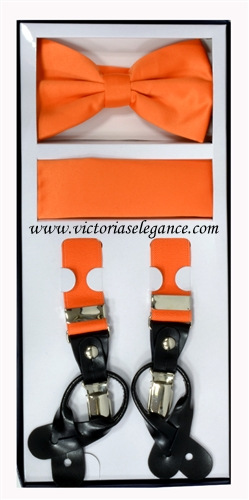 Suspender Combo Set (Bowtie & Hanky) Orange