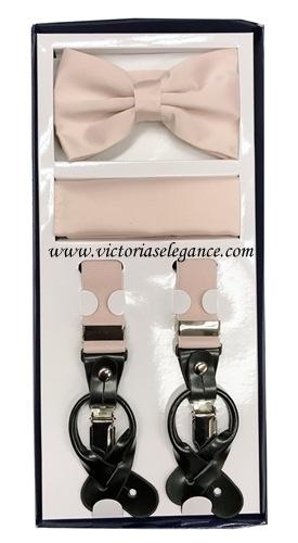 Suspender Combo Set (Bowtie & Hanky) Pearl Pink