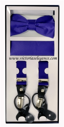 Suspender Combo Set (Bowtie & Hanky) Purple