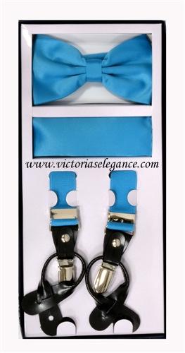 Suspender Combo Set (Bowtie & Hanky) Turquoise